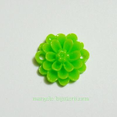 Cabochon/link rasina, floare verde, 14x5 mm 1 buc