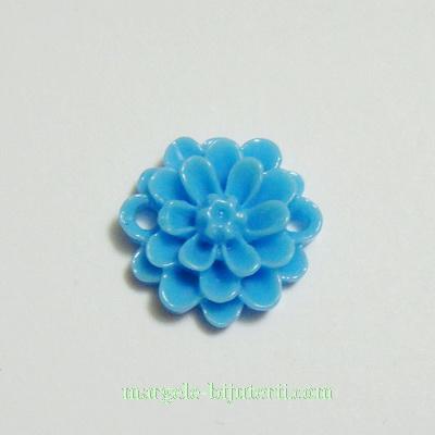 Cabochon/link rasina, floare albastra, 14x5 mm 1 buc