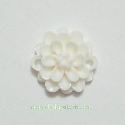 Cabochon/link rasina, floare alba, 14x5 mm 1 buc