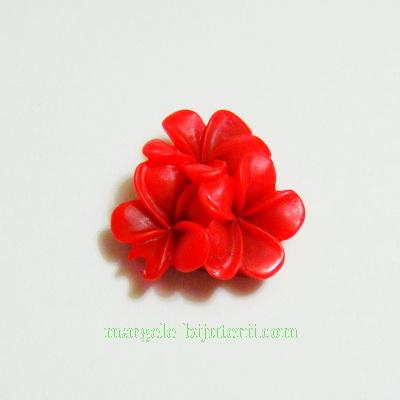 Cabochon rasina, 3 flori rosii, 21x21x10mm 1 buc