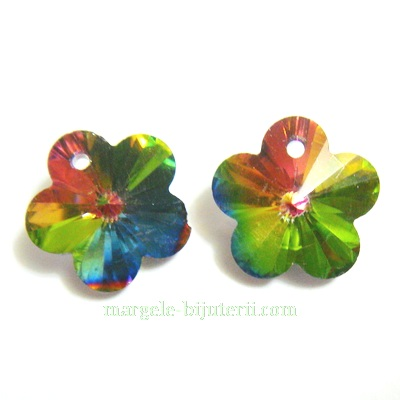 Pandantiv sticla, electroplacat, multicolor, floare 14x14x8mm 1 buc