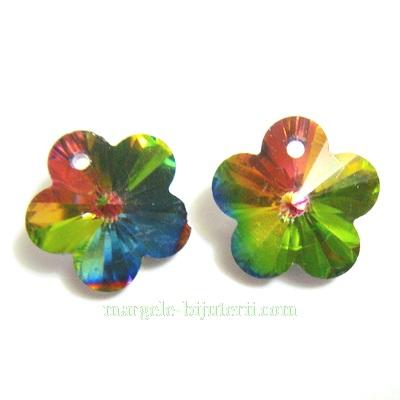 Pandantiv sticla, electroplacat, multicolor, floare 14x14x8mm 1 buc