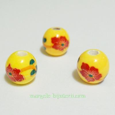 Margele portelan, galbene cu flori maro, 8mm 1 buc