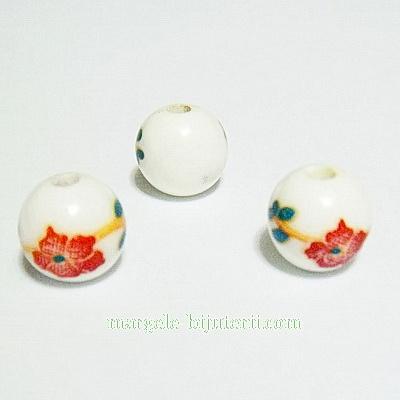 Margele portelan, albe cu flori maro, 8mm 1 buc