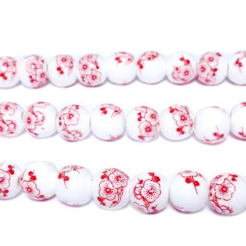 Margele portelan, albe cu flori rosii, 8mm 1 buc