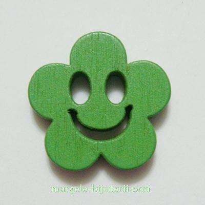 Floare lemn, smile, verde, 14x4mm 1 buc