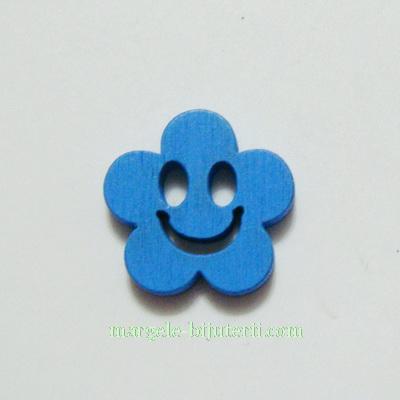 Floare lemn, smile, albastra, 14x4mm 1 buc