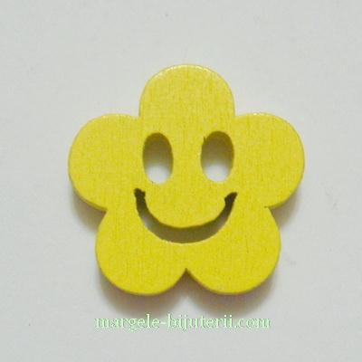 Floare lemn, smile, galbena, 14x4mm 1 buc