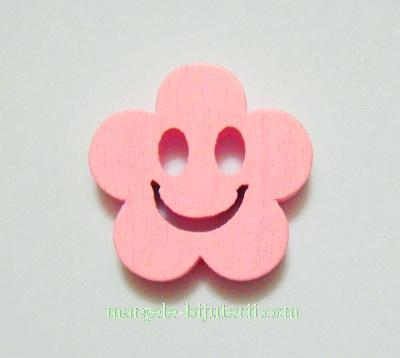 Floare lemn, smile, roz, 14x4mm 1 buc