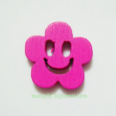 Floare lemn, smile, fucsia, 14x4mm 1 buc