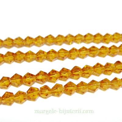 Margele sticla, biconice, maro-coniac, 4mm 10 buc