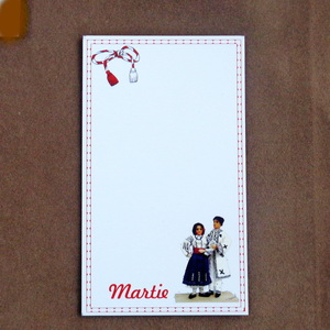 Carton martisor, cu costume nationale, 9.2x5.4cm 10 buc