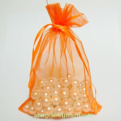 Saculeti organza portocalii, 15x10cm, interior 12x10 cm 1 buc