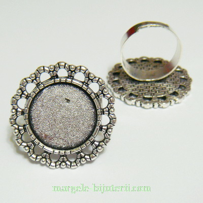 Baza cabochon, argint tibetan, inel, platou 25mm, interior 16mm 1 buc