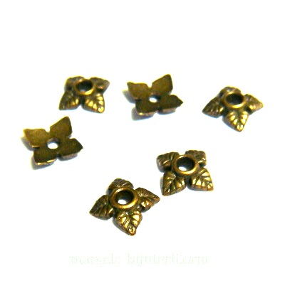 Capacel bronz cu 4 frunzulite, 6x2mm 1 buc