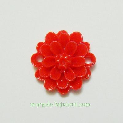 Cabochon/link rasina, floare rosie, 14x5 mm 1 buc