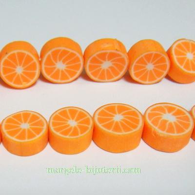 Margele fimo, felii de portocala, 10x5mm 1 buc