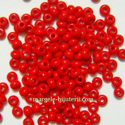 Margele nisip, Rocaille Preciosa 8/0-3mm, rosii, opace 20 g