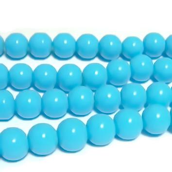 Margele sticla, sferice, turcoaz deschis, 8mm 10 buc