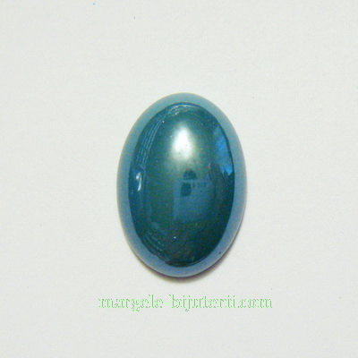 Cabochon sticla, verde-smarald, sidefat, 18x13x5mm 1 buc