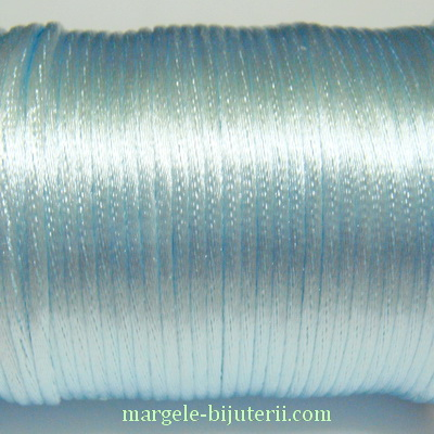Snur saten, bleu deschis, 2mm 1 m