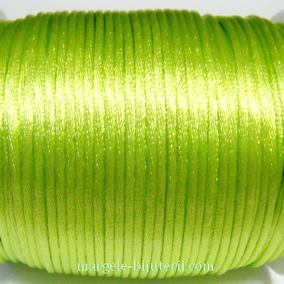 Snur saten, verde-fosforescent, 2mm 1 m