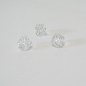 Margele plastic biconice transparente 6mm 100 buc