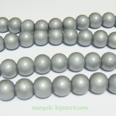 Margele sticla, argintii, 8mm 10 buc