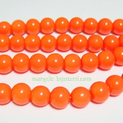 Margele sticla, portocalii, 8mm 10 buc