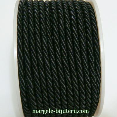 Snur masase, negru, rasucit, 3mm 1 m
