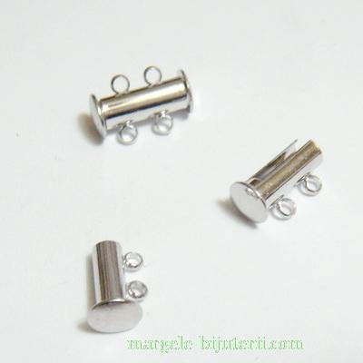 Inchizatoare magnetica, argintiu inchis, cu 4 bucle, 15x6mm 1 set