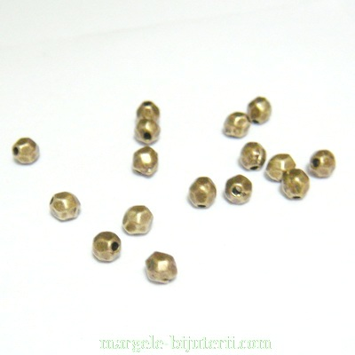 Margele bronz, multifete, 4mm 1 buc