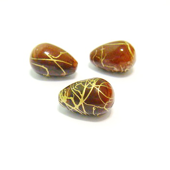 Margele plastic lacrima maro cu auriu, 15x10 mm 1 buc