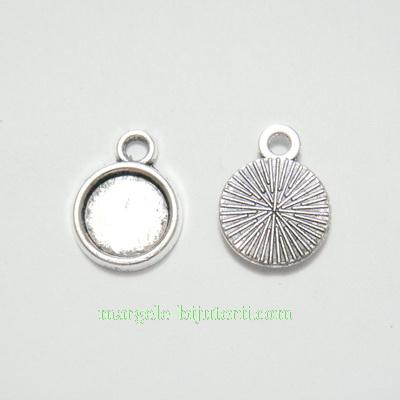 Baza cabochon, argint tibetan, pandantiv, 16x12x2mm, interior 10mm 1 buc