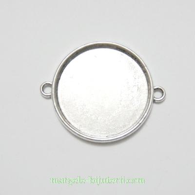 Conector / link cabochon, argint tibetan, 36x28x3mm, interior: 25mm 1 buc