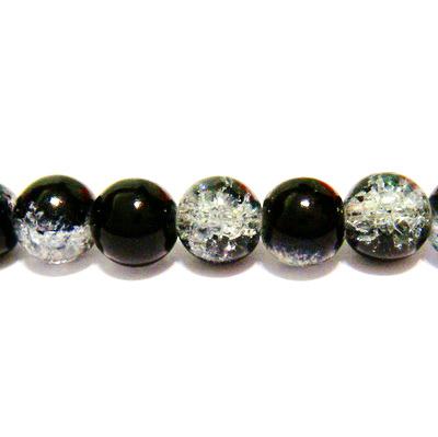 Margele sticla crackle negre 8 mm 10 buc