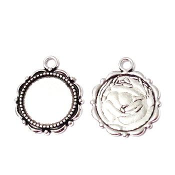 Baza cabochon, argint tibetan, pandantiv, 23x18x2x2mm, interior 14mm 1 buc
