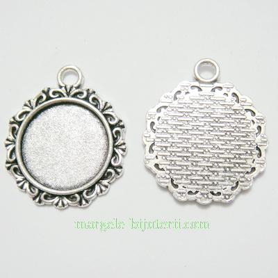 Baza cabochon, argint tibetan, pandantiv, 30x26x2.5mm, interior 18mm 1 buc