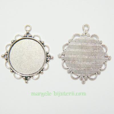 Baza cabochon, argint tibetan, pandantiv, 48x44x3mm, interior 30mm 1 buc