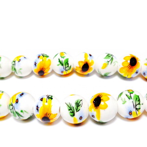 Margele portelan albe cu flori galbene, 10mm 1 buc