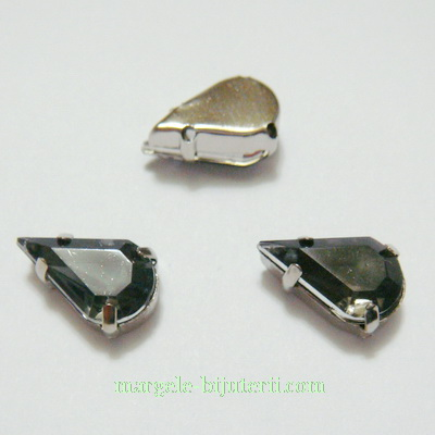 Margele montee rhinestone, plastic, gri inchis, lacrima 13x8x5mm 1 buc
