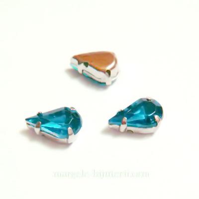 Margele montee rhinestone, plastic, turcoaz inchis, lacrima 10x6x5mm 1 buc