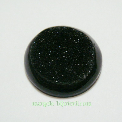 Cabochon rasina, negru, plat, 25x6mm 1 buc