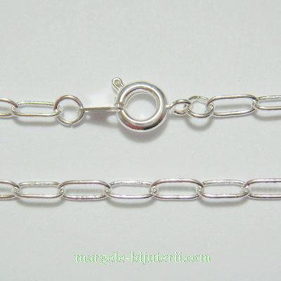 Lantisor placat cu argint, zale 7x3x0.6mm, lungime 45.5cm 1 buc