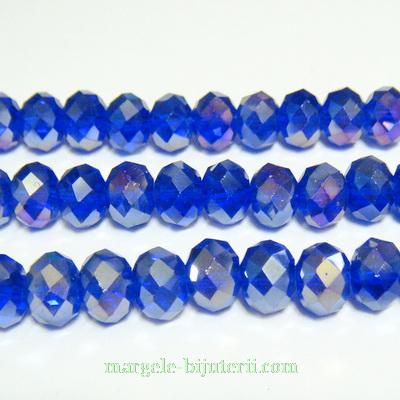 Margele sticla, multifete, albastru cobalt AB, 8x6mm 1 buc