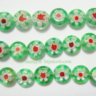 Margele millefiori, verzi, plate, 10x4mm 1 buc