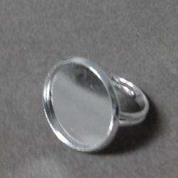 Baza inel cabochon, argintiu, interior platou 18mm 1 buc