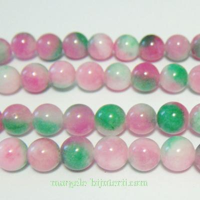 Jad alb-roz-verde, 8mm 1 buc