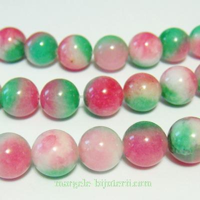 Jad alb-roz-verde, 10mm 1 buc
