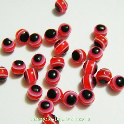 Margele rasina, rosu-alb-negru, 6mm 10 buc